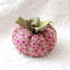 Fall Plush Boho Fabric Pumpkin in Upcycled Sage Green and Raspberry Floral Print $8.00 @Boutique Vintage 72