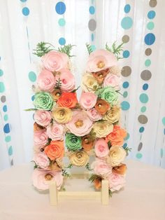 """Floral letter, Large 16"""" Paper mache Letter, Shown in mint green, peach, blush & gold paper flowers, Baby shower initial, Nursery decor"""