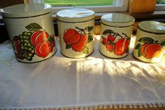 Decoware Metal Kitchen Canisters Set Of 4 Fruit Decor Vintage