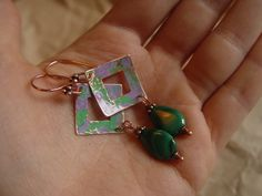 Hammered Copper Earrings with Genuine Malachite Teardrop Beads, $20.00