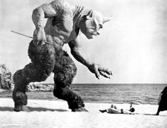 """Probably one of the most iconic images of a cyclops is the one created by Ray Harryhausen for """"The Voyage of Sinbad"""" Fantasy Movies, Sci Fi Movies, Scary Movies, Horror Movies, Sf Movies, Indie Movies, Comedy Movies, Action Movies, Fantasy Art"""