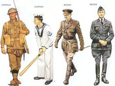 Australia - 1941 Oct, Tobruk, Private, 9th Division Australia - 1943 May, Sydney, Leading Seaman, Task Force 44, RAN Belgium - 1940 Apr., Belgium, Colonel, 1st Inf. Regiment Belgium - 1940 May, Belgium, Major, 1st Regiment, Belgian AF