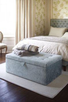 The sofa.com Gabriel ottoman in Azure Crushed Florentine Velvet - $740