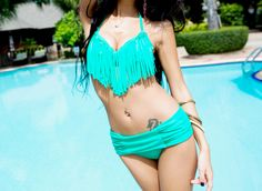 Alluring Halter Tassel Embellished Solid Color Bikini Swimsuit For Women Vintage Swimsuits, Models, Sammy Dress, Bikini Fashion, Korean Fashion, Beachwear, Girls, Sexy Women, Fashion Outfits