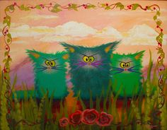 3 Green Cranky Cats with Roses.  Available as a matted print, note card, and more.  CrankyCats.com    Copyright owned by Cynthia Schmidt.