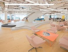 Penson's office for UKTV has a huge, sprawling staircase platform used by staff for weekly planning sessions Library Furniture Design, Cool Furniture, Commercial Interior Design, Commercial Interiors, Slow Design, Staircases, Office Interiors, School Projects, Offices