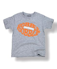 Look what I found on #zulily! Heather Gray 'Gobble Gobble' Football Tee - Toddler & Kids #zulilyfinds