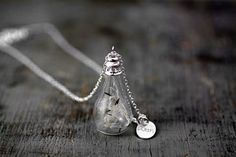 STERLING REAL DANDELION seeds necklace. Make a by VillaSorgenfrei