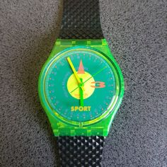 GJ106 New Swatch 1991 Champ Fluorescent Green Authentic