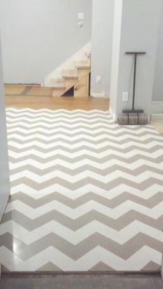 Chevron VCT tile flooring Haley says can you paint her floor like this?