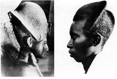 Ramses II on the left compared to Tutsi hairstyle