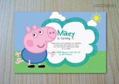 Peppa Pig George Pig Birthday Invitation Custom by CocoDigitals