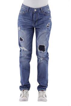 Pantalón vaquero de mujer Jeans estilo Boyfriends con rotos actuales Referencia  1618 Condición:  Nuevo  Composición 98% algodón, 2% elastano Categoría Pantalones vaqueros jeans denim Paquetes 10 unidades Los paquetes de color Tamaño : 34, 36, 38, 40, 42 De color Azul Jeans mayoristas de ropa jeans al por mayor: http://intueriecommerce.com/es/