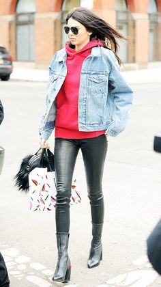 Hoodies + denim + leather are Kendall Jenner's go to casual pieces.