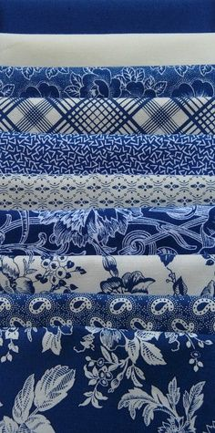 Gallery in Blue Blue White Fat Quarter Bundle 10 - The Quilted Crow Quilt Shop folk art quilt fabric quilt patterns quilt kits quilt blocks Azul Indigo, Bleu Indigo, Blue And White Fabric, White Fabrics, Blue Fabric, Aztec Fabric, Blue Dream, Love Blue, Textiles