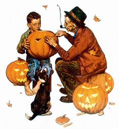 What I Like About Fall | Ghostly Gourds - art by Norman Rockwell.