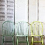 Windsor dining chairs painted different but complementary colours. #mismatched