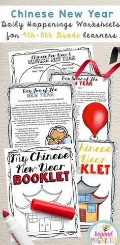 Chinese New Year daily happenings of Chinese New Year for 4th-8th grade learners. #chinese #new #year #chinesenewyear #4th grade #fourth #fifth #sixth #seventh #eight #ninth #grade
