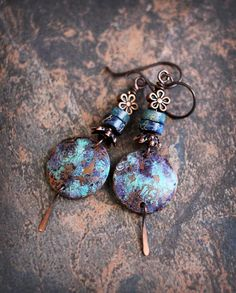 Bohemian blues. Artisan made earrings. Rustic boho earrings.