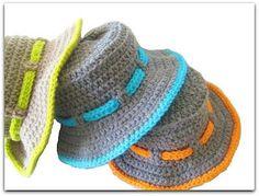 $4~Crochet Dreamz: Boy's Sun Hat Crochet Pattern, Newborn to 10 Years