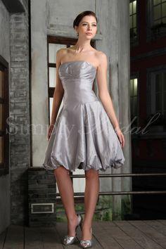 #85018 - Strapless Drop Waist Taffeta Dress - Bridesmaid Dress - Simply Bridal
