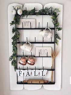 AmazonSmile - Wall Mounted Mug Rack - 6 Row Metal Storage Display Organizer For Coffee Mugs, Tea Cups, Mason Jars, and More. -