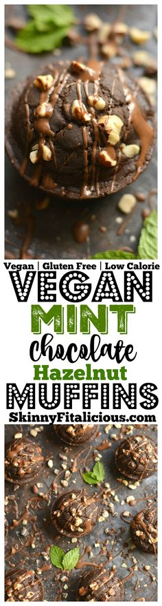 Nutty Mint Chocolate Muffins! Bursting with rich dark cocoa, mint flavor & crunchy hazelnuts, these vegan muffins make mouthwatering mini desserts. A healthy way to satisfy a sweet tooth! Gluten Free + Vegan + Low Calorie!