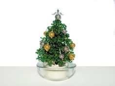 Beaded Mini Christmas Tree with Angel by BeadedGardenCanada Angel Christmas Tree Topper, Miniature Christmas Trees, Christmas Angels, Handmade Christmas Gifts, Holiday Gifts, Christmas Crafts, Beaded Flowers, Office Decorations, Bonsai Trees
