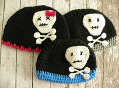 Skull and Crossbone hat. Crochet hat skull and crossbones. Pirate hat. Punk rock skull hat. Girl or boy hat. You choose colors. via Etsy