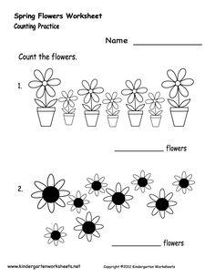 Kindergarten Spring Flowers Worksheet Printable