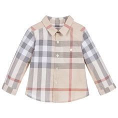 Burberry Baby Boys Cotton Checked Shirt at Childrensalon.com