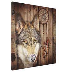 rustic native indian dream catcher wild wolf
