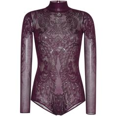 Zuhair Murad Purple Lace Knit Bodysuit (9 140 SEK) ❤ liked on Polyvore featuring intimates and shapewear