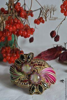shibori - Princess's Oh, my. Bead Embroidered Bracelet, Embroidery Bracelets, Bead Embroidery Jewelry, Silk Ribbon Embroidery, Cuff Bracelets, Ribbon Jewelry, Bead Jewellery, Fabric Jewelry, Jewelry Crafts