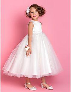 Lanting Bride A-line / Princess Tea-length Flower Girl Dress - Satin / Tulle Sleeveless Jewel with Appliques / Beading – USD $ 79.99