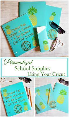 Monogram School Supplies, Personalized School Supplies, Cool School Supplies, Diy Stationary Projects, Diy Projects, Stationary School, School Notebooks, Personalized Notebook, School Decorations
