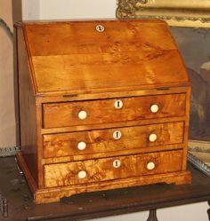 Antique Miniature Bureau in bur birch