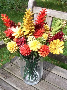 Fall Pine Cone Flowers on 12-inch stems. Thanksgiving Decor.