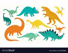 Cartoon dinosaur set cute dinosaurs icon vector image on VectorStock Cartoon Dinosaur, Cute Dinosaur, Kawaii, Doodle, Icon Collection, Predator, Illustration, Vector Free, Moose Art