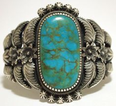 Old Pawn Navajo Mountain Turquoise Sterling Silver Cuff Bracelet - Kirk Smith: Serious turquoise. Love.