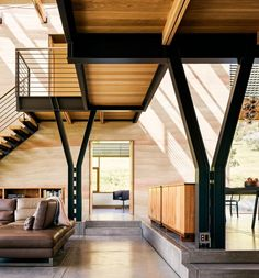 Large Windows, Windows And Doors, Noguchi Coffee Table, Custom Metal Fabrication, Stainless Steel Railing, Building Systems, Design Within Reach, Wood Slats, Sliding Glass Door