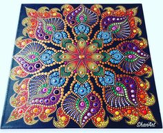 So intricate and I love the colors. Mandala Doodle, Mandala Art Lesson, Mandala Canvas, Mandala Artwork, Mandala Dots, Mandala Painting, Mandala Pattern, Samba, Mandala Painted Rocks
