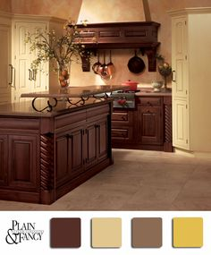 An Elegant Kitchen With Rich Browns And Soft Yellowish Whites Brown