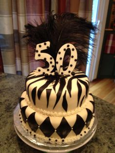50th birthday cake in black and white