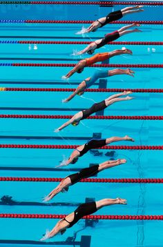 A general view as athletes start the Swimming Women's Freestyle 100m Final on day fourteen of the 15th FINA World Championships at Palau Sant Jordi on August 2, 2013 in Barcelona, Spain.