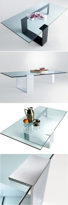 Giulio Mancini: Plinsky Glass Coffee Table by Tonelli - folded plate support