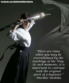 """There are times when you may be overwhelmed by the teachings of the 'Way'. At such moments, it is important to continue with the original Spirit of a beginner."" ~ Morihei Ueshiba"
