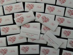 Heart Fl Chocolate Bars Personalised Wedding Favours
