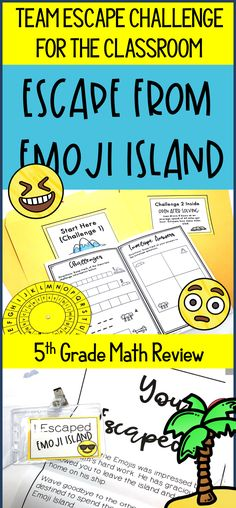 Don\'t do boring test prep anymore! Let your students escape from Emoji Island using: Multiplication, Division, Fractions, Decimals, Geometry, Problem Solving. This classroom break out / escape classroom challenge is specifically for 5th grade math standards. #mathpractice