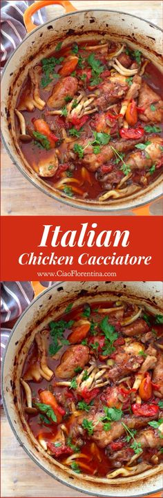 Italian Chicken Cacciatore Recipe ( Hunter Style Stew ) | CiaoFlorentina.com @CiaoFlorentina                                                                                                                                                      More
